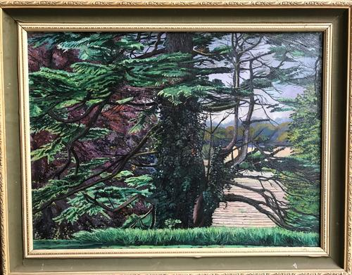 Original Oil on Canvas of Trees and a Lake. Unsigned. Inscribed 'to Melanie, Love Melissa' (1 of 3)