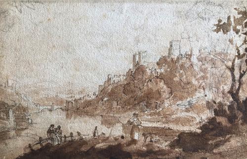 Original Sepia & Pencil Watercolour 'Durham' by Sir Augustus Wall Callcott Unsigned. Framed (1 of 5)