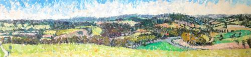 Original Oil on Board' Panorama Near Chichester' by Ken Walch. 1927-2018. Signed and Dated 78 on the Reverse. Initialled KW Bottom Right (1 of 4)