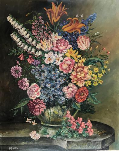 Original Oil On Board 'Summer Flowers'. Initialled and Dated  '56'[ (1 of 3)