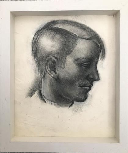 Original Chalks and Pencil Drawing 'Profile Portrait of a Man by Alan Stenhouse Gourley P.R.O.I. 1909-1991-1990. Framed Initialled and Dated 55 (1 of 2)