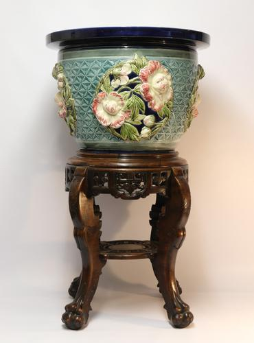 Fine French Pottery Jardiniere with Original Stand (1 of 16)