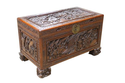 Superb Chinese Carved Hardwood Chest / Blanket Box (1 of 31)