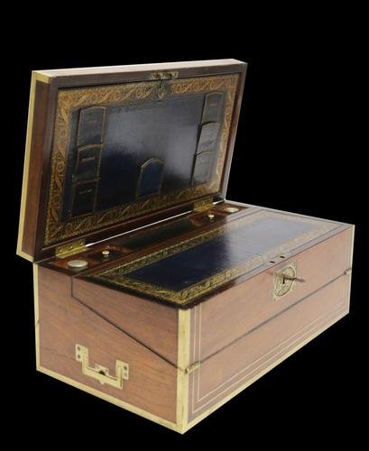 Superb 19th Century Gentleman's Brass Mounted Campaign Writing Box (1 of 29)