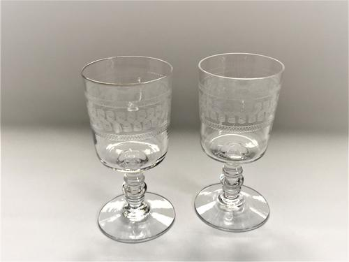 Pair of Edwardian Etched Port Glasses (1 of 5)
