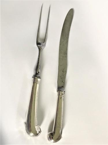 Irish Georgian Silver Meat Fork & Knife (1 of 4)