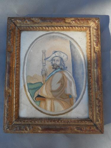 18th Century Silk Embroidery on Paper of Saint James (1 of 4)