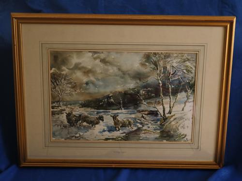 Sheep in a Winter Landscape by Edward Seago (1 of 10)