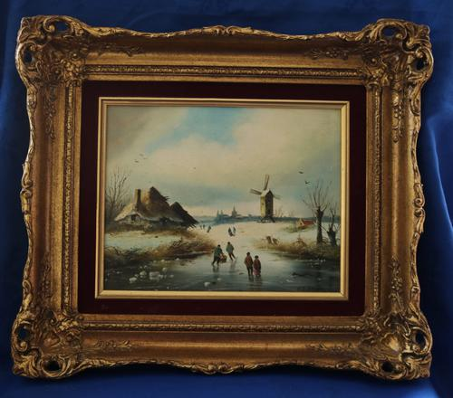 Figures in a Winter Landscape by G J Adema (1 of 6)
