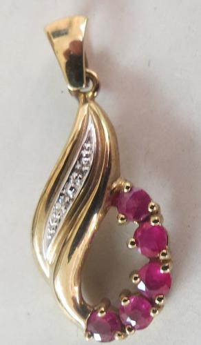Vintage Ruby & Diamond Gold Pendant - ca 1980 (1 of 4)