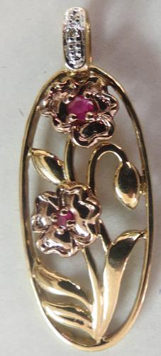 Ruby & Diamond Floral Gold Pendant - ca 1980 (1 of 3)