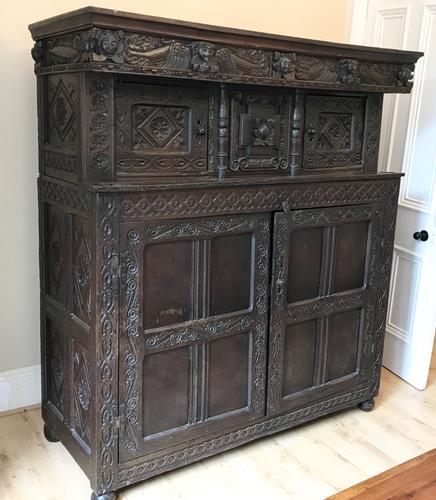Excellent 17th Century Shropshire Hand Carved English Oak Court Cupboard (1 of 7)