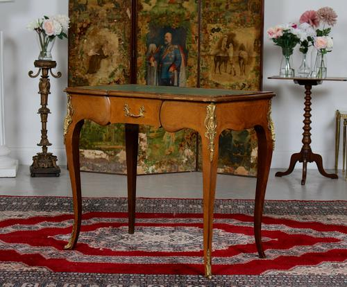 French Louis VI Manner Writing Desk Walnut Gilt Leather Table (1 of 12)