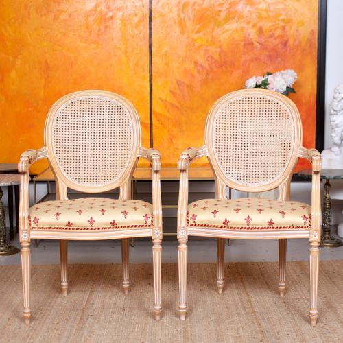 Pair of Continental Bergere Carved Limed Elbow Tub Chairs (1 of 11)