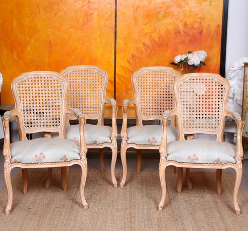 4 Continental Bergere Chairs Armchairs Carved Limed Oak (1 of 12)