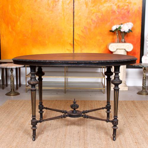 Ebonised Dining Table Gilt Tooled Console (1 of 11)
