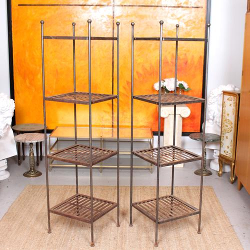 Pair of Tall French Wrought Iron Etagere Whatnot Shelving Stands (1 of 10)