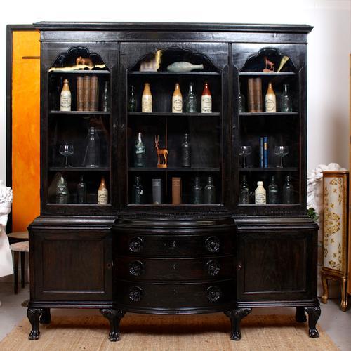 Austrian Ebonised Oak Glazed Dresser Bookcase Display Cabinet (1 of 12)