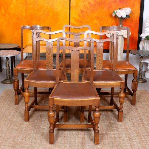 Oak Dining Table & 6 Chairs c.1920 (1 of 19)