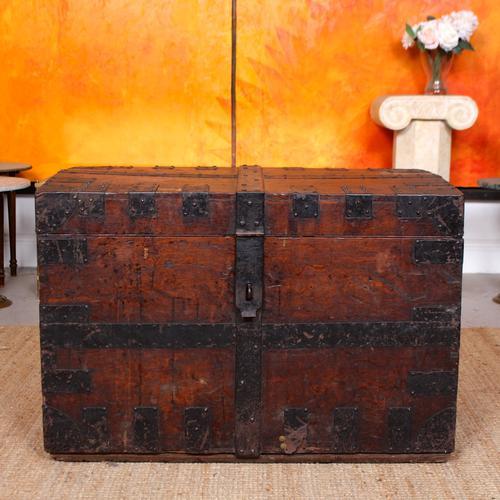 Oak Iron Bound Silver Chest Trunk 19th Century (1 of 10)