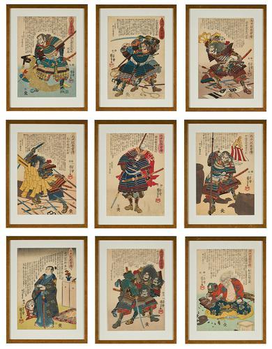 Nine Japanese Ukiyo-E Prints by Utagawa Kuniyoshi, Edo Period, Mid 19th Century (1 of 19)