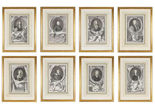Group of 18th Century Portrait Etchings by Jacobus Houbraken (1 of 17)