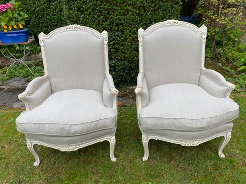 Pair of Large Upholstered French Armchairs (1 of 9)