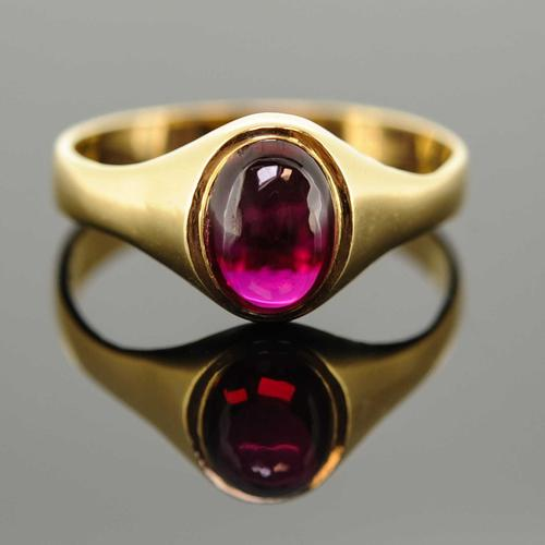 18ct Yellow Gold Synthetic Ruby Signet Ring (1 of 7)