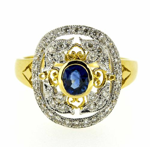 18ct Yellow Gold Antique Style Sapphire & Diamond Cluster Ring (1 of 8)