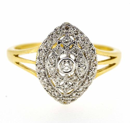 18ct Yellow Gold Antique Style Diamond Cluster Ring (1 of 6)