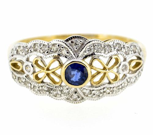 9ct Yellow Gold Antique Style Sapphire & Diamond Ring (1 of 8)