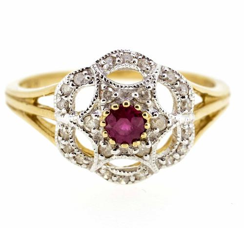 9ct Yellow Gold Antique Style Ruby & Diamond Cluster Ring (1 of 8)