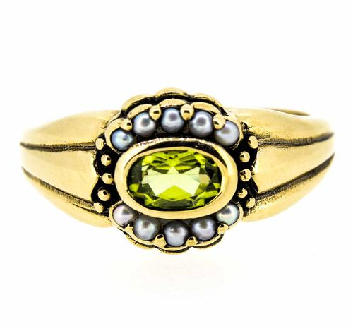 9ct Yellow Gold Antique Style Peridot and Seed Pearl Dress Ring (1 of 8)