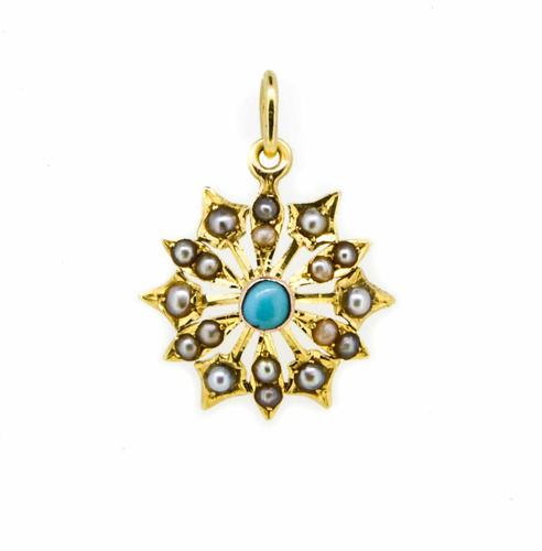 Early 20th Century 15ct Yellow Gold Turquoise & Pearl Star Pendant (1 of 5)