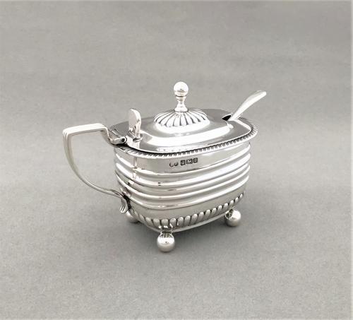 Handsome Edwardian Silver Mustard Pot & Spoon (1 of 5)