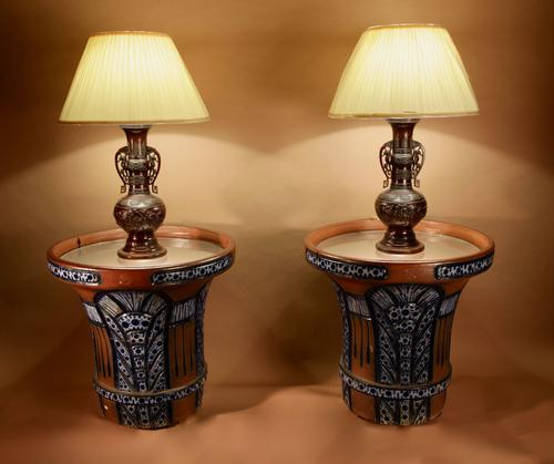 """Pair of Very Rare & Impressive Decorative Art Deco Large Pottery """"Gres"""" Jardinières Eliminated, Side Tables (1 of 11)"""