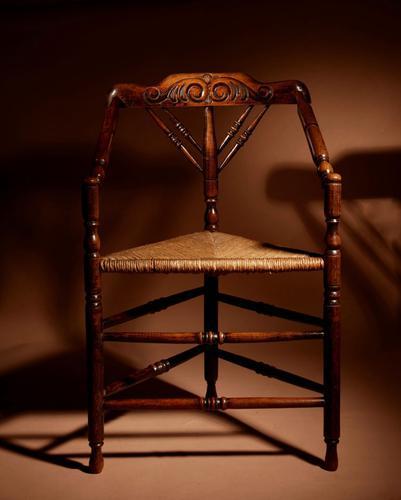 Very Decorative Elmwood Triangle Armchair C.1900 (1 of 6)