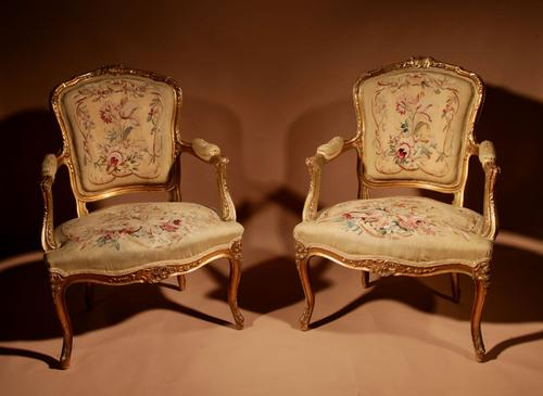 Louis XV Style Finely Carved Gildwood & Original Aubusson Tapestry Cabriolet Pair of Armchairs, 19th Century (1 of 18)