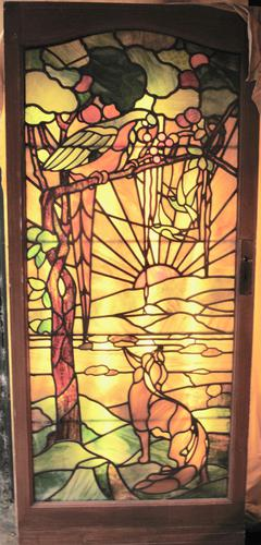 Tiffany Style Leaded Glass Parrot & Fox Door Window (1 of 6)