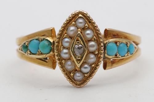 20th Century Gold, Turquoise & Seed Pearl Dress Ring (1 of 3)