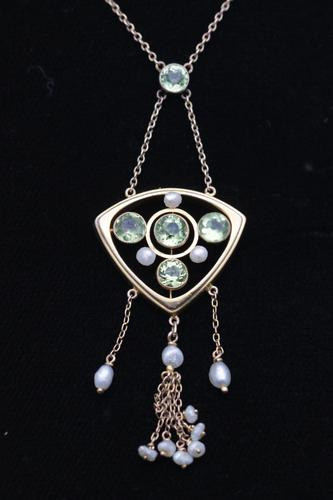 Arts and Crafts Peridot & Freshwater Pearl Pendant Necklace (1 of 1)