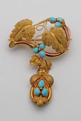 Fabulous Victorian Gold & Turquoise Brooch (1 of 3)