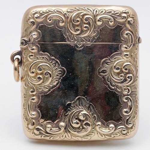 Victorian 9 Carat Gold Ornate Vesta Case Henry Matthews (1 of 3)