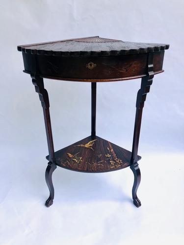 Unusual Meiji Period Hardwood Corner Table (1 of 9)