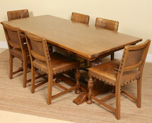 Oak Refectory Dining Table & 6 Leather Chairs Country (1 of 13)