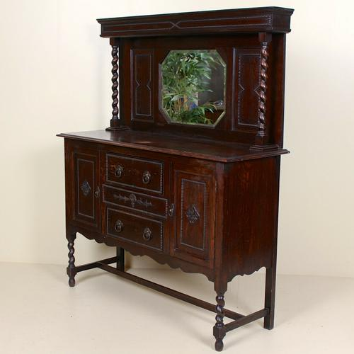 Edwardian Arts & Crafts Ebonised Carved Mirrored Oak Sideboard (1 of 11)