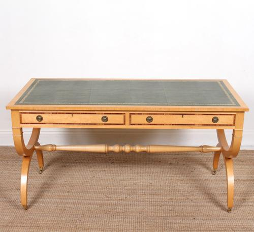 Maple Leather Library Desk Large Standalone Writing Table (1 of 13)