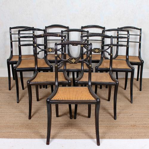10 Regency Harlequin Ebonised Dining Chairs Bergere Cane Seats (1 of 15)
