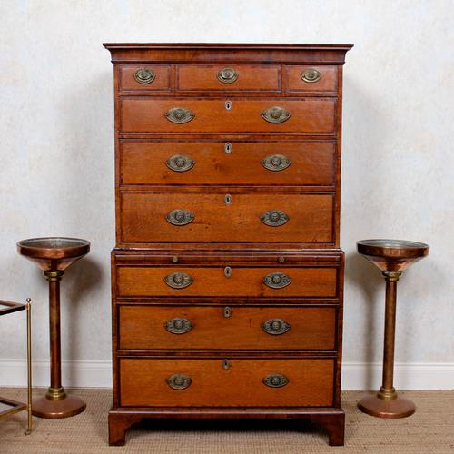 18th Century George III Oak Chest on Chest of Drawers Rosewood (1 of 12)
