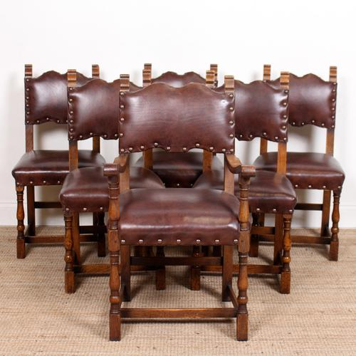 6 Arts & Crafts Oak Leather Dining Chairs 19th Century (1 of 9)